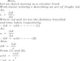 what is angular velocity derive an equation between the v linear velocity