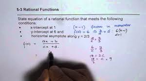 write rational function with given fraction horizontal asymptote x and y intercept