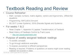 ee control systems lectures tue thu nh ppt  10 textbook reading and review