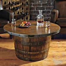 handmade round vintage oak whiskey barrel table at wine enthusiast 87500 as much whiskey as authentic jim beam whiskey barrel table