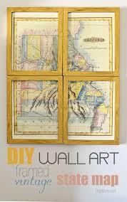 diy wall art framed vintage state map at tidymom net