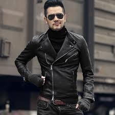 winter men motorcycle bikers faux leather jacket short slim men knight black fashion leather suit jacket