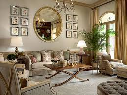 round wall mirrors for living room with gold curtains and antique crystal chandeliers