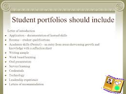 Student Portfolios Portfolios Ultimate Goal A Portfolio Should Be Something A Student