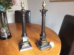 pair of laura ashley solid brass lamp bases