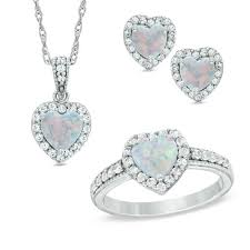 7 0mm heart shaped lab created opal and white sapphire pendant ring and