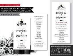 Christmas Program Theme Nightmare Before Christmas Moonlight Serenade Theme Printable Wedding Program Card Wedding Stationary Ceremony Program Card Custom