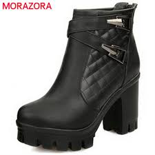 Morazora <b>Plus size 34 43 new</b> women boots zip round toe rubber ...