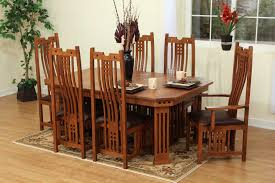9 pieces oak mission style dining room set with hexagon dining table and chairs with high back and dark brown leather seats plus carpet tiles for small