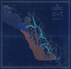 Southeast Alaska Nautical Charts Amazon Com Vintography Noaa Blueprint Style 18 X 24