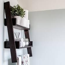 diy floating ladder shelf with plans