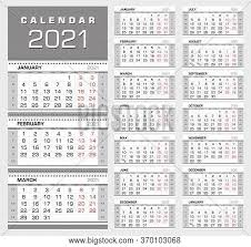 2021 2021 yearly calendar templates font name: Wall Quarterly Vector Photo Free Trial Bigstock