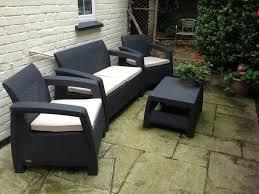 4 seater lounge set plastic rattan garden furniture keter anthracite corfu
