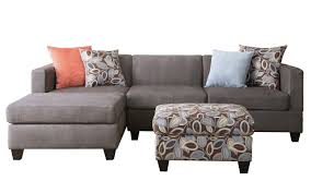 3 piece small space reversible grey microfiber sectional sofa with fl print ottoman com
