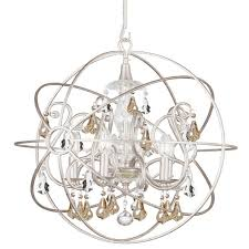 crystorama solaris 5 light gold crystal silver sphere chandelier