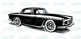 Retro Clipart Classic Car Authentic Vintage European Vector