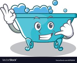 call me bathtub character cartoon style vector image
