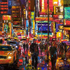 cityscape new york city times square abstract urban paintings fine art painting by debra hurd