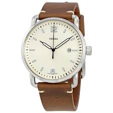 fossil the commuter silver dial men s leather watch