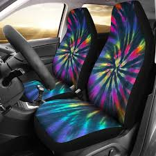 neon tie dye pattern car seat covers