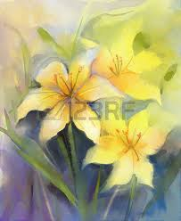acrylic painting three yellow lily flowerwatercolor painting floralin soft color background acryclic painting soft