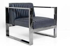 chrome furniture. kube chair in black chrome and charcoal faux leather furniture