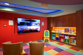 Grand Basement Playroom Ideas With Open Cabinet As Storage And Colorful  Puzzle Mat ...