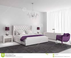 Purple And White Bedroom White Luxury Bedroom With Purple Armchair Stock Photo Image