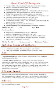 Chef Cv Template Head Chef Cv Template Tips And Download Cv Plaza