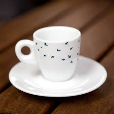 Navy Birds Espresso Cup And Saucer Gift Set