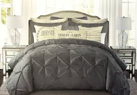 tahari king comforter set pintuck ruched diamond dark grey 100 cotton duvet cover 7
