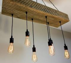 reclaimed barn wood 1 2 beam chandelier light fixture with hanging edison bulbs