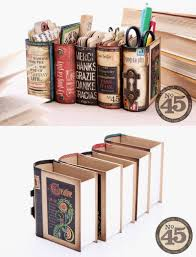desk organizers made from book bo and graphics 45 s booking papers