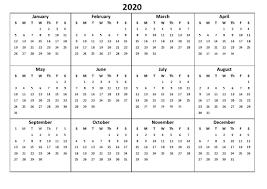 12 Months 2020 Calendar Printable 12 Month Calendar 2020 Various Size Calendar Shelter