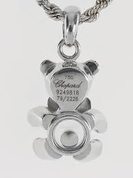 chopard 18k white gold happy diamonds teddy bear floating diamond pendant necklace