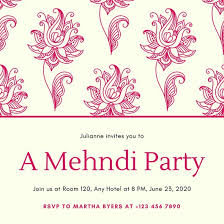 Cream With Pink Pattern Mehndi Invitation Templates By Canva