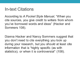 integrating sources into your essay citing sources in mla in text  in text citations according to a pocket style manual when you cite sources