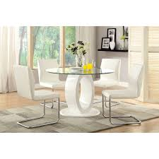 furniture of america damore contemporary 5 piece high gloss round dining table set white hayneedle