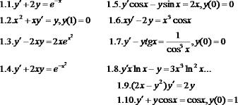 Контрольная работа по математике для специальности  2 Найти общее решение дифференциального уравнения и частное решение удовлетворяющее начальному условию