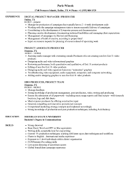 Tv Production Resume Examples Project Producer Resume Samples Velvet Jobs