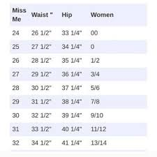 Miss Me Jeans Size Chart Conversion