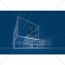 Architecture Blueprint 3d Rendering GL Stock Images