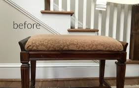 before piano bench turned diy faux fur foot stool thediybungalow com