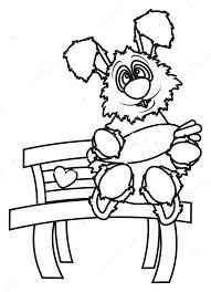 Kleuren Bunny Zit Op Een Bankje En Houden Van Een Wortel Stockfoto