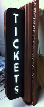 graphic home theater lighting. vintage style art deco movie theater ticket sign light up home mancave graphic lighting
