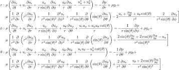 fluid dynamics equations. spherical coordinates fluid dynamics equations