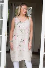 Light Pink Linen Dress Light Pink Pocket Flower Linen Dress