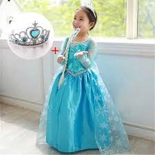 4 10 Years Children Green <b>Princess Anna Elsa Cosplay</b> Fancy ...