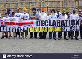London 8th August. Supporters of a 2020 referendum on Punjab ...