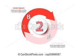 Two Topics Red Arrow Chart With 3d Paper Circle In Center For Website Presentation Cover Poster Vector Design Infographic Illustration Concept